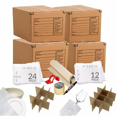 Kitchen Moving Box Supplies Kit 1 4 Boxes With Dishglass Inserts W