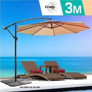 3m Outdoor Umbrella Brown Tan Garden Patio Shade Cantilever New Melbourne CBD Melbourne City Preview