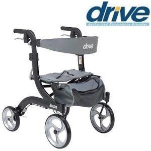 NEW DRIVE MEDICAL WALKER ROLLATOR RTL10266BK-H 223309138 NITRO EURO STYLE HEMI HEIGHT BLACK HEALTH
