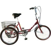 "Adult 20"" adult trike. single speed red with red wall tire"