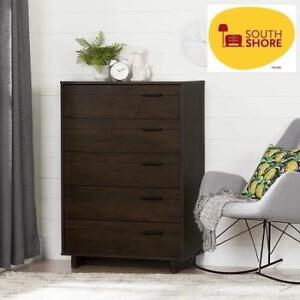 NEW SOUTH SHORE 5-DRAWER CHEST 10280 202148662 FYNN BROWN OAK FURNITURE DECOR STORAGE