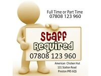 Staff required, takeaway staff wanted, restaurant job, cafe job, Part time & Fulltime job