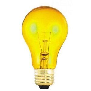 Bulbrite 25A/TY 105825 25-Watt Transparent, Yellow A19 Bulb