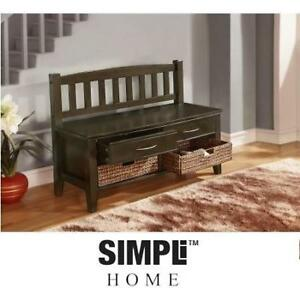NEW SIMPLI HOME ENTRYWAY BENCH AXCCARBNCH1 187412341 CAROLINA COLLECTION FURNITURE HOME DECOR
