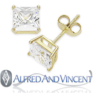 Princess Square Cut CZ Crystal Sterling Silver Stud Earrings - April Birthstone