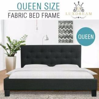 LUXDREAM Charcoal Linen Bed Frame-Queen NEW