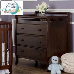 NEW DREAM ON 3-DRAWER CHANGE TABLE 601 225282419 W/ PAD ESPRESSO HOME HOUSE FURNITURE DECOR