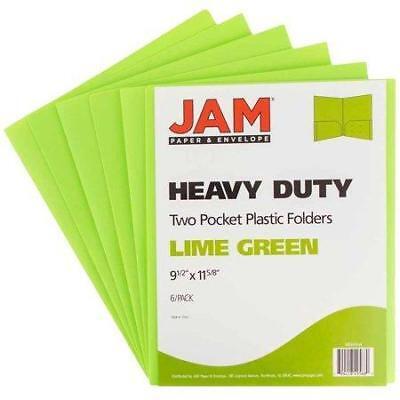 Jam Paper Heavy Duty Plastic Two Pocket Presentation Folders Lime Green 6pack