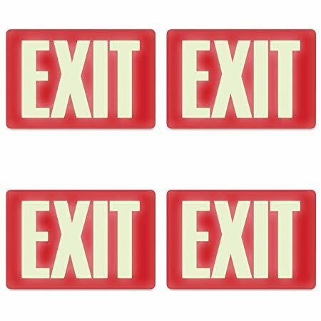 Headline Sign 4792 Glow-in-The-Dark Exit Sign, 8 Inches by 12 Inches, 4 Packs