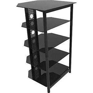 Black 5 Shelf Equipment Rack New