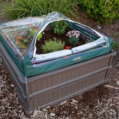 - Lifetime 4' x 4' Raised Garden Bed, 2pk with 1 Tent, Brown W