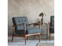 Gallery Direct Humber Dark Grey Linen Armchair x2