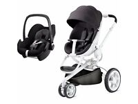 quinny moodd pushchair with pebble car seat - white RRP £450 Selling £180