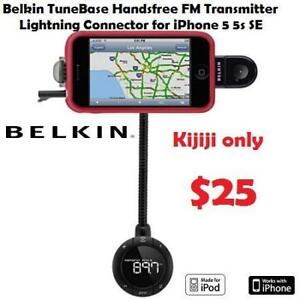 NEW out of box Belkin TuneBase Handsfree FM Transmitter Lightning Connector for iPhone 5 5s SE
