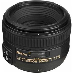 NIKON 50mm f1.4 G AF-S lens with caps, hood, bag - MINT !