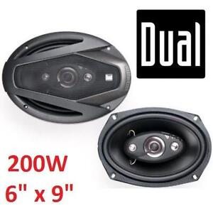 """NEW OB DUAL 4 WAY CAR SPEAKERS 6"""" x 9"""" 60HZ 20KHZ FREQUENCY RESPONSE - OPEN BOX 108163641"""