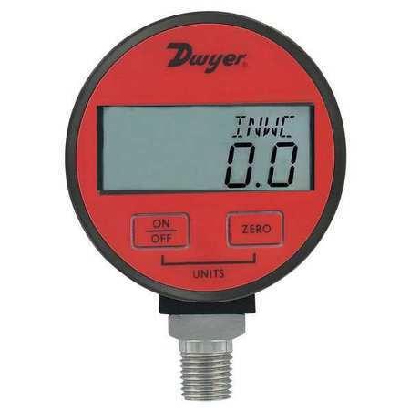 Dwyer Instruments Dpga-07 Digital Pressure Gauge, 0 To 50 Psi, 1/4 In Mnpt,