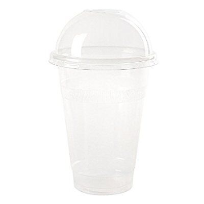 Plastic Coffee Cups With Lids (16 oz Plastic CLEAR Cups with Dome Lids for Iced Coffee Bubble Tea, 100)