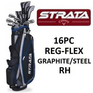 NEW CALLAWAY MEN'S 16PC GOLF SET RH PK RH ST STRATA PLUS 15 16PC MEN 186910732 CLUBS BAG REGULAR FLEX RIGHT HAND GRAP...