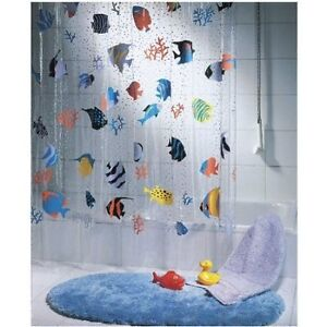 QUALITY Transparent Fish PEVA Clear Plastic Shower Curtain, 180 x 200 cm