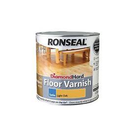 ronseal diamond hard floor varnish light oak x 2 tins