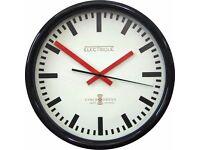 Lascelles Swiss Station Wall Clock, Cream, Dia.30cm