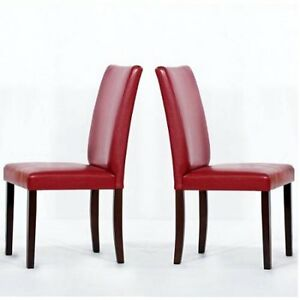 SET OF 2 NEW RED FAUX LEATHER DINING CHAIRS