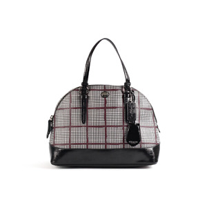 Coach Peyton Glen Plaid Dome Satchel - Bordeaux Multi