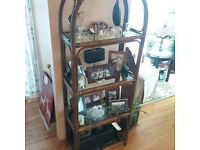 Bamboo Shabby Chic Shelf Unit with 2 Glass Shelves