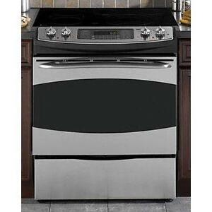 slide in electric range stainless