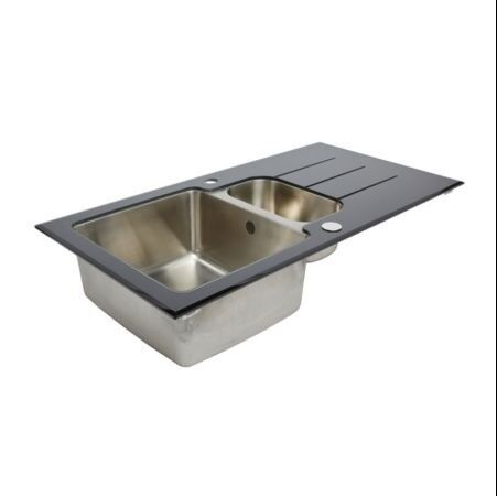 KITCHEN SINK. 7 ITEMS. COOKE & LEWIS 1.5 BOWL GLASS SINK & DRAINER ...