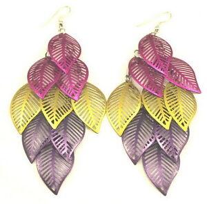New Charm Long multicolour Tone Vintage Leaf Dangle Earrings