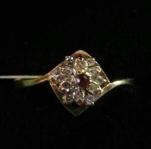 Ruby Ring with Diamonds 10k Gold $295.. Valentines is comin