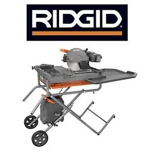 "NEW RIDGID 10"" WET TILE SAW R4092 150395335 WITH STAND POWER TOOL"