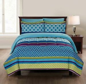 Brand new 7 piece Double Microfiber Geo Stripe Bed-in-a-Bag