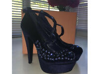 Office London - Bejewelled Navy Suede Heels