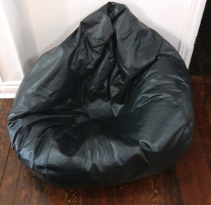 Black Faux Leather Beanbag Chair