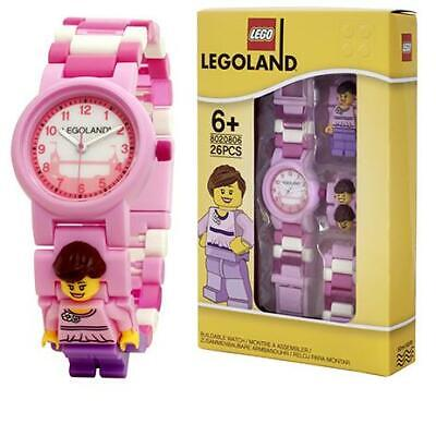Lego Girls Pink Buildable Minifigure Link Wrist Watch - Childrens Analogue Watch