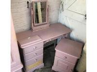Solid pine pink bedroom furniture, bedside drawers and desk