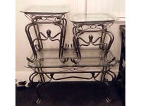 3x glass tables set