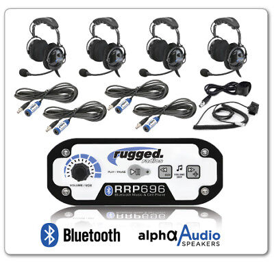 Rugged Radios RRP696 4 Place Intercom Kit w/ Cables, OTH Headsets, Push to Talks