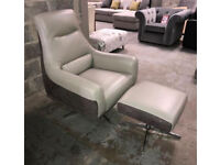 DFS Valdez two tone swivel reading chair and Footstool