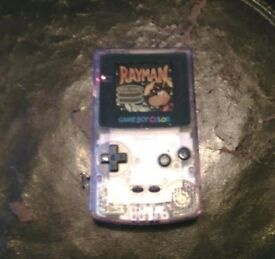 RARE Gameboy Colour, clear purple with 4 games