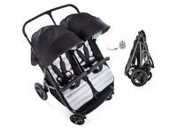 Exdisplay Hauck Rapid 3r side by side double pram pushchair twins or baby and sibling IN BLACK GREY