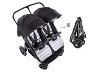 Exdisplay Hauck Rapid 3r side by side double pram pushchair twins or baby and sibling BLACK GREY