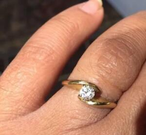Natural Diamond 14K Yellow Gold Engagement Ring (Size 6)   with Excellent Diamonds Quality