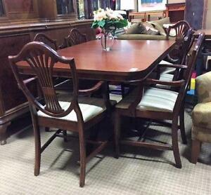 Dark Wood Dining Set Double Pedestal Table 6 Chairs 2 Leafs