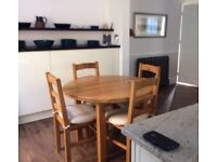 French Solid extending Oak Table & 6 Chairs for Sale