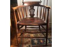 Antique solid wood Edwardian tub pub chair