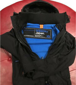 Superdry Jacket - Windcheater, Black/Blue - Size XS